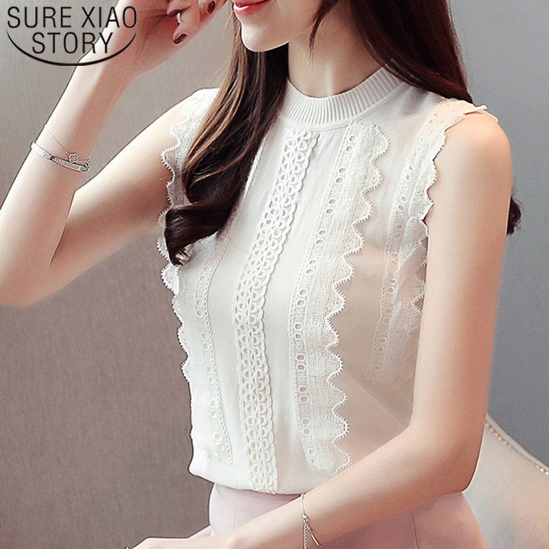 Fashion women tops and   blouses   2019 ladies tops lace   blouse     shirts   Sleeveless Ruffles Solid white   shirt   women   shirts   3966 50