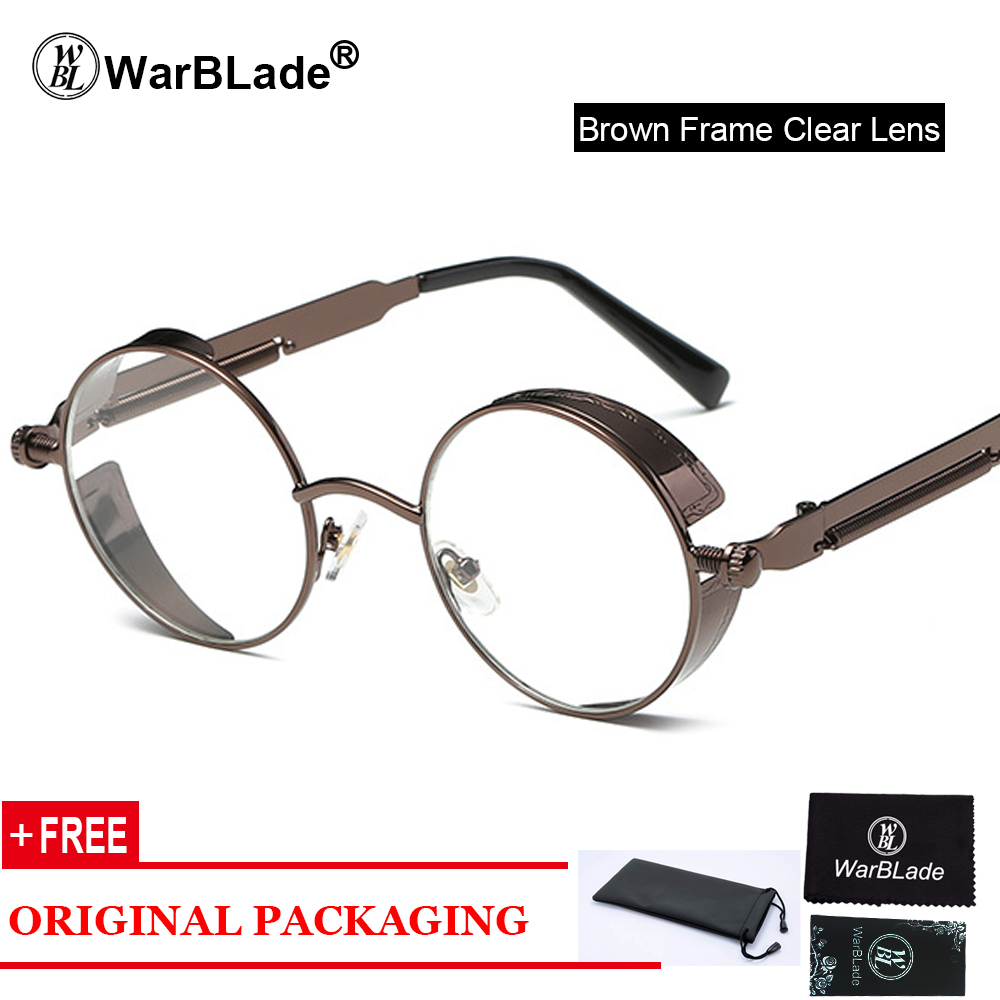ee810acea1b WarBLade clear fashion gold round frames eyeglasses for women vintage  steampunk round glasses frames for men male nerd metal