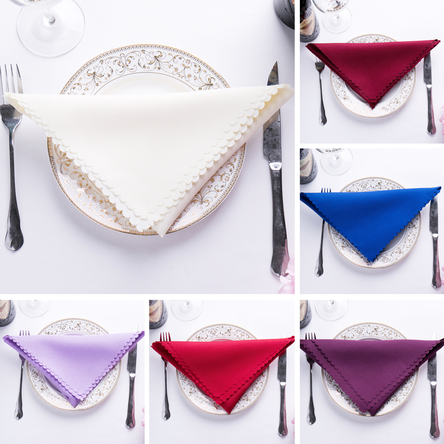 6pc 46x46cm Wedding Table Napkins Cloth Classical Plain Color Polyster Wedding Table Decoration Dinning Table Napkins Red