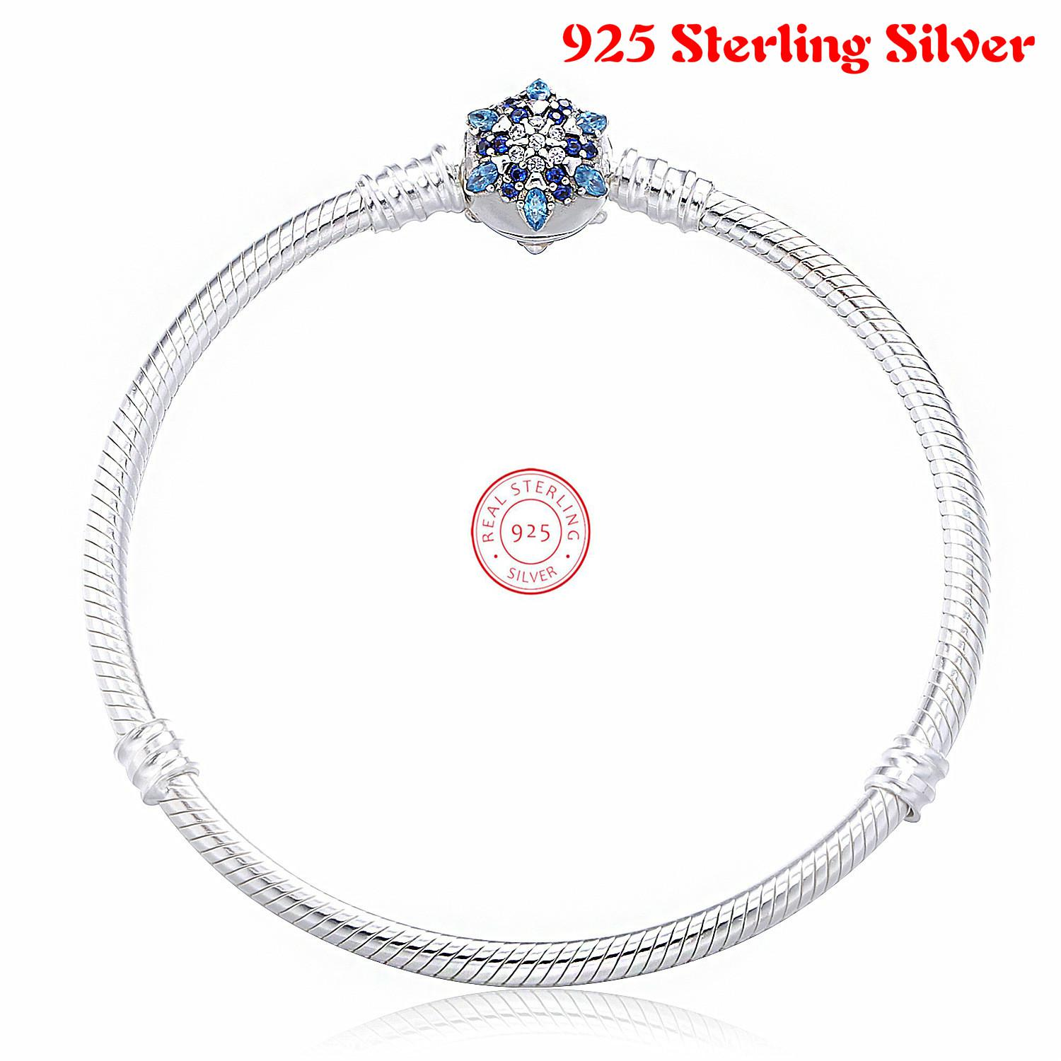 925 Sterling Silver Crystalized Snowflake Clasp Snake Chain Basic Pandora Bracelets & Bangle Fit Women Charm Jewelry ztung hb20 charm bracelets classic 925 sterling silver have many color for women s girls wonderful gift jewelry bangle