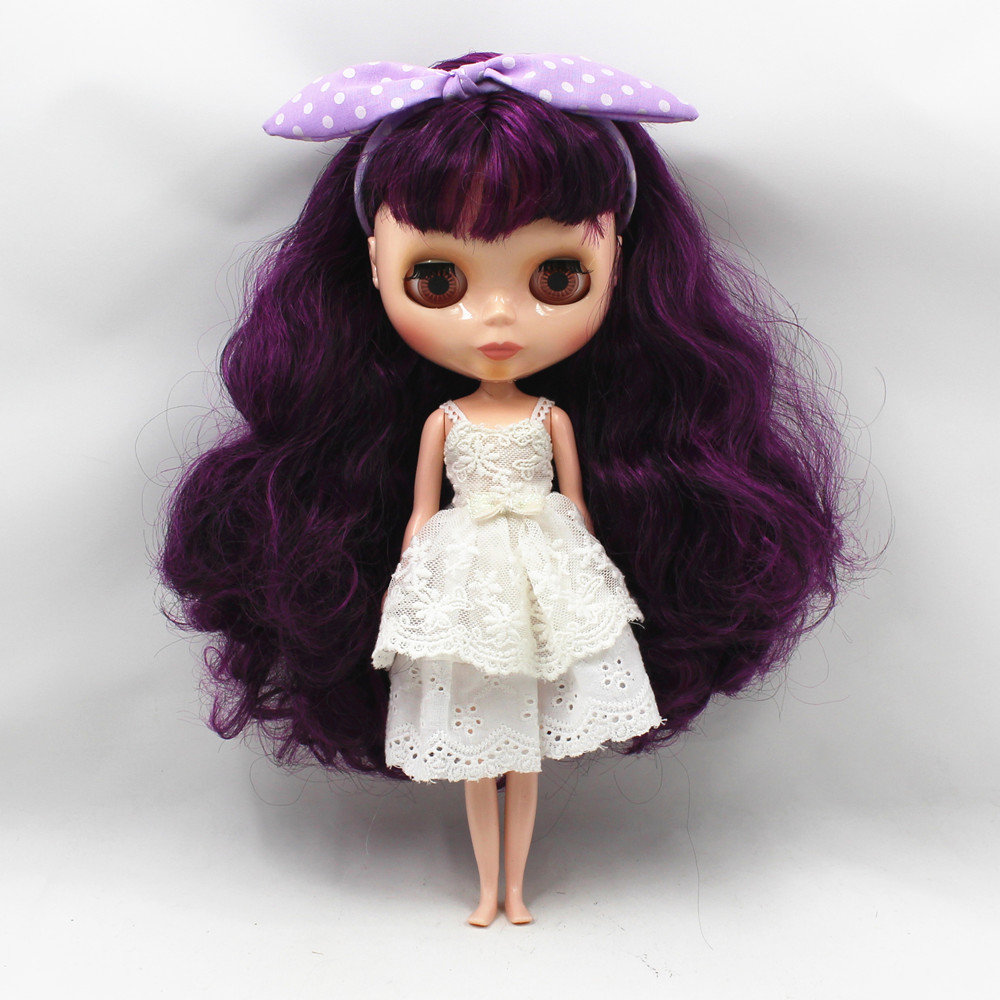 purple curly long hair with bangs normal body nude doll suitable for change DIY 280BL732/117 purple curly long hair with bangs normal body nude doll suitable for change diy 280bl732 117