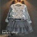 EMS DHL Бесплатная доставка девушки Осень Весенняя Мода Трикотажные Пачки 2 шт. Костюм Детей НОВЫЙ Малыш Одежда Out fit