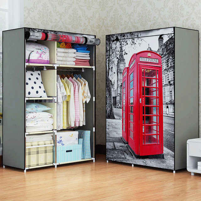 New Printing Non Woven Fabric Wardrobe Storage Organizer Detachable Clothing Portable Closet Bedroom Fashion