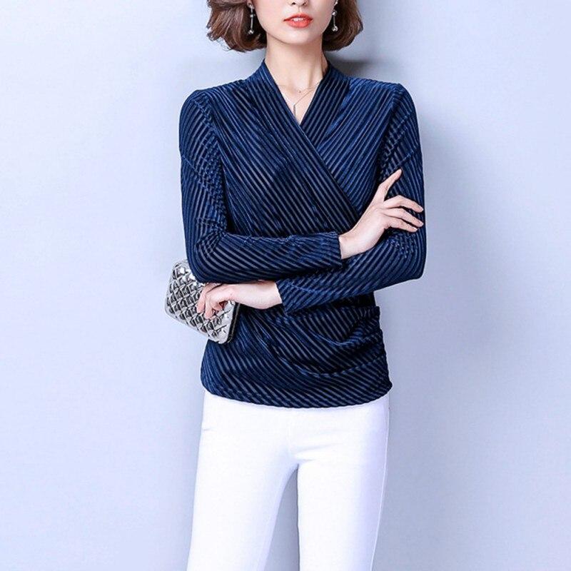 bf430a89098 Демисезонный Для женщин Элегантная блузка золото бархат полосатый v-образным  вырезом синий Рубашки для мальчиков