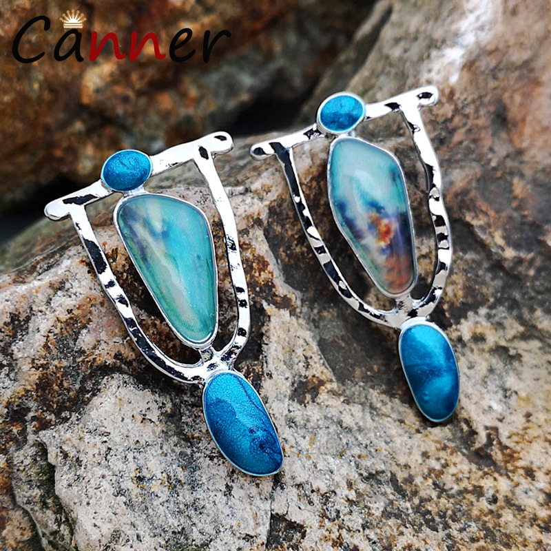 CANNER Vintage Geometric Earrings Bohemian Natural Stone for Women Earings Fashion Jewelry Dangle/Drop Boho FI