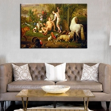 Adam and Eve Oil Painting on Canvas Landscape Wall Art Classical Fashion Gift for Home Decorations No Frame