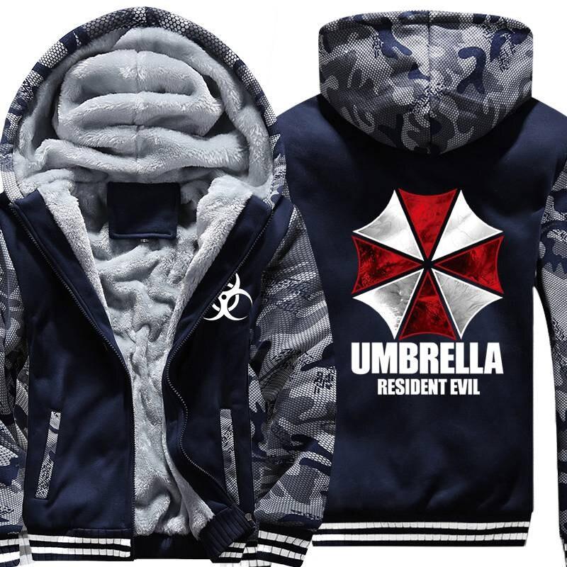 Resident Evil Umbrella Corporación LOGO impreso hombres sudaderas 2018 nuevo hombre grueso polar cremallera ejército camuflaje sudaderas abrigo
