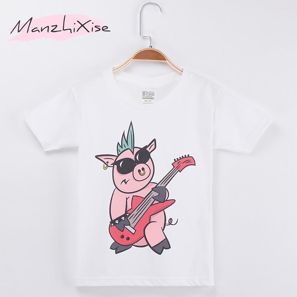 2019 Crianças T-shirt Para Crianças Porco Cantor de Rock Estrela Dos Desenhos Animados 100% Algodão Meninos Camisas Curto T Roupas Das Meninas Encabeça Tee frete Grátis
