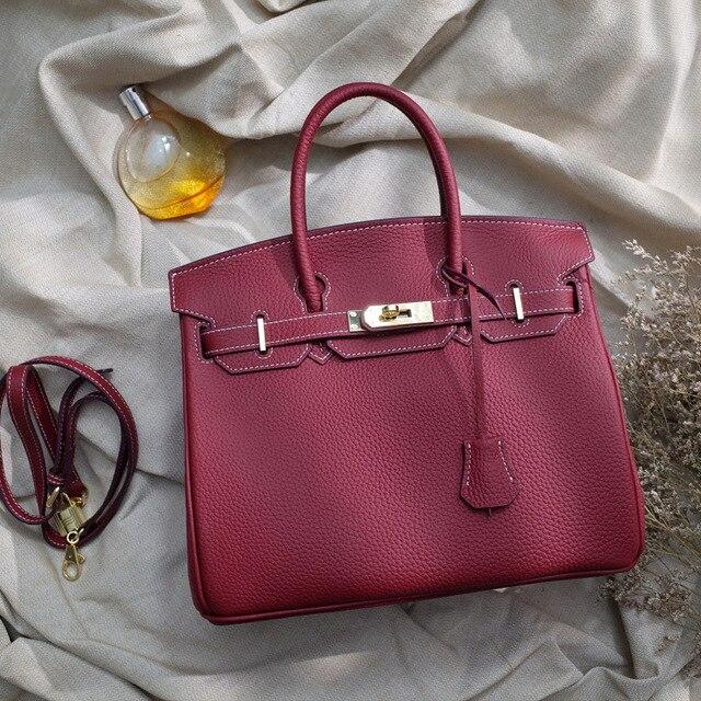 92f2933ce342 Роскошные Париж Франция Марка первый Слои Кожа Личи узор натуральная  телячья кожа женская сумка-торба