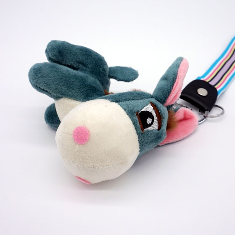 Wool Donkey Plush Keychains Keyrings Men Women Bag Accessory Pendant Charm Mini Animal Stuffed Toy Wrist Rope Key Chain Gift