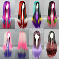 Free Shipping 80cm Multicolor Ombre Women Long Straight Hair Cosplay Wigs Universal natural Lolita/LOL For Halloween Gradient