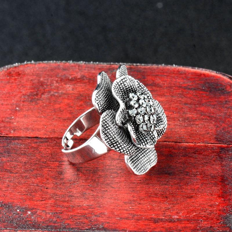 SINLEERY Vintage Big Black Ekte Cubic Zircon Flower Finger Rings - Mote smykker - Bilde 4