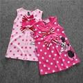 Bonito Vestido Da Menina Bebê Minnie Vestido de Verão Minnie Mouse Vestido Bowtie Dot Vestido de Princesa Meninas Roupas Robe Fille Enfant 1-5Y