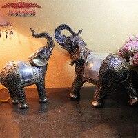 2016 Prawdziwy Dom Dekoracji Akcesoria Southeast Asian Stylu Retro Rzemiosło Żywicy Ozdoby Świąteczne Ślub Miłośników Słoń Zwierząt