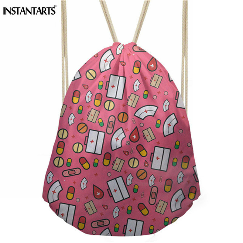 INSTANTARTS Cartoon Nurse Design Casual Drawstring Bags Fashion Female Cinch Sack Backpack Multifunction Travel Storage Bags