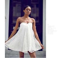 AEL Neue Casual Mode Trägerlosen Bh Mini Kleid Aushöhlen Hohe Qualität Sexy Top Frauen Weiß Strand Grid Kleid Ropa mujer 2019