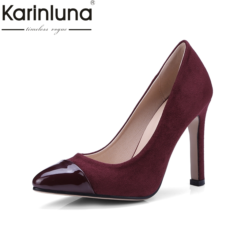 Karinluna Top Quality Big Size 34-43 Thin High Heels Spring Shoes Women Pumps Sexy Pointed Toe Office Party Shoes Woman karinluna best quality crystals brand big size 34 43 sexy high heels summer sandals shoes women party woman shoes