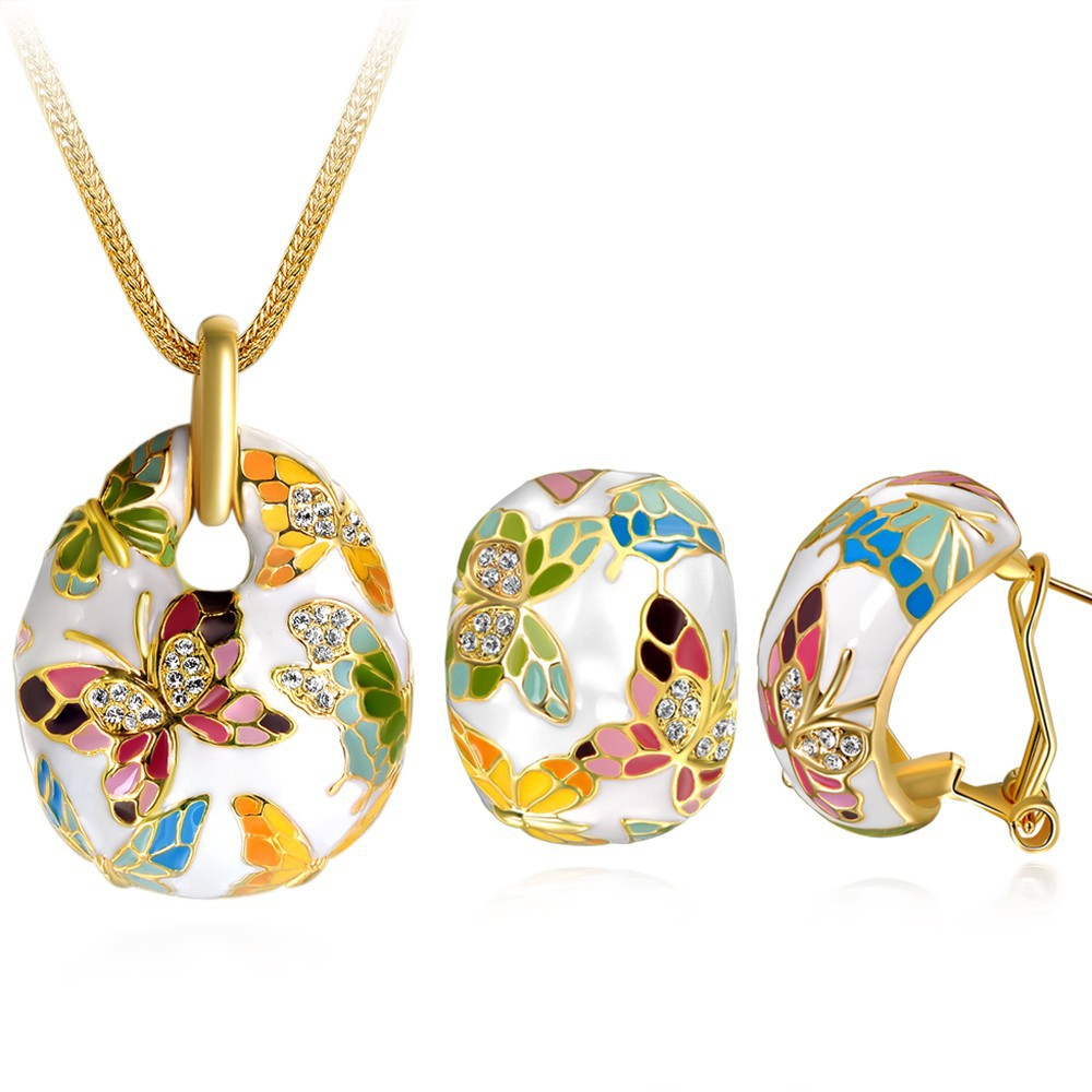Crystal & Butterfly Enamel Necklace Earrings Retro Set Of Fashion Jewelry  Gold Color Unique Bohemian Costume