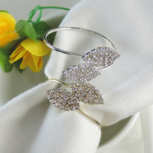 12PCS metal stainless steel napkin ring two leaf party table supplies
