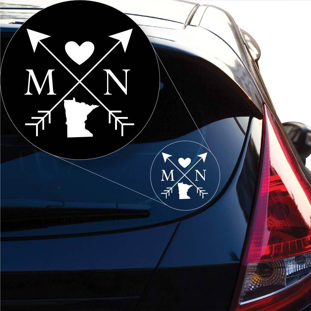 Yoonek Graphics Minnesota Love Cross Arrow State MN Decal Sticker for Car Window, Laptop and More. # 1088 (4 x 4, White)