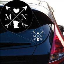 цена на Yoonek Graphics Minnesota Love Cross Arrow State MN Decal Sticker for Car Window, Laptop and More. # 1088 (4 x 4, White)