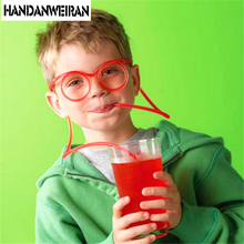 2017 NEW Fun soft plastic straw funny glasses flexible drinking toys  party joke tube tools kids baby birthday gifts Hot selling