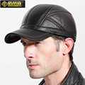Elderly Men Winter Leather Hat Male Genuine Leather Baseball Cap Father Warm Earmuffs Hat New Year Gift B-4460