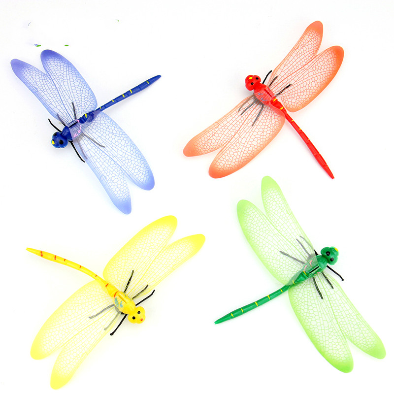 Home Decor Colorful Simulation Dragonfly Flying Insect Props Model Fridge Magnets Plastic 12pcs/lot