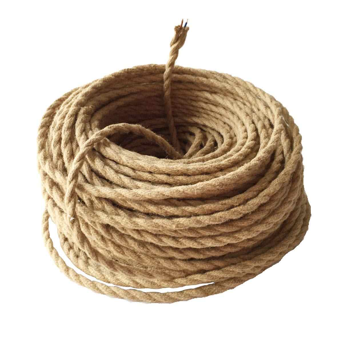 Beige 5/10/20 Meters Vintage Electrical Wire Hemp Rope Woven Textile Wire Twisted Cable Braided Wire Retro Pendant Light Line