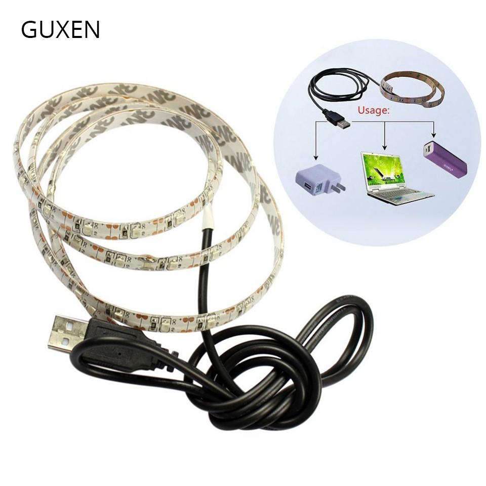 GUXEN 5V USB Led Strip Light SMD 3528 Chip light strips No-waterproof for TV Desktop PC Screen Backlight 50cm-500cm