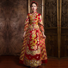 High Quality Red Traditional Chinese Wedding Dress Embroidery Cheongsam Handmade Beading Qipao Dresses Retro Dressing Gown(China)
