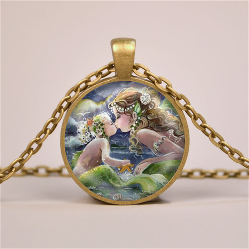 Mermaid Kissing Baby Art Print Pendant Necklace Glass Jewelry Charm Gifts for Her or Him Child Mother Daughter Mom