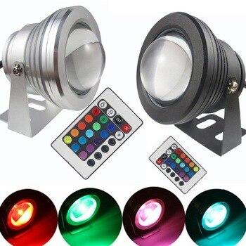 Lampe sous-marine RGB LED 16 couleurs 10 W AC 12 V IP67 étanche lampe de lumière LED pour aquarium de réservoir de poissons d'étang de piscine avec télécommande
