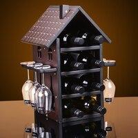 Creative House style wood wine rack European fashion bar wine rack wine glass holder