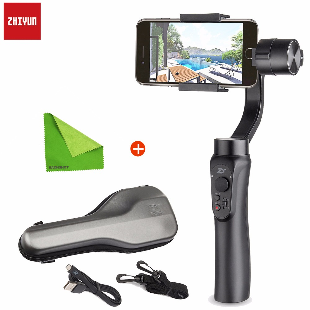 Zhiyun Smooth Q 3-Axis Smartphone Moblie Handheld Gimbal Stabilizer for iPhone X 8+ 7 Plus 6 Plus Samsung Phone Wireless Control feikuer stabilizer 2 axis brushless handheld gimbal for smart phone and iphone 6 plus