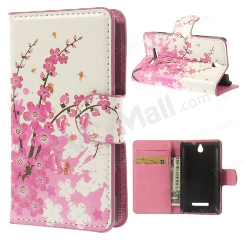 Pink Plum Magnetic Leather Wallet Handbag Book Cover Case For Flip Sony Xperia E Dual C1605 C1505 c1604 cell phone bagS cases