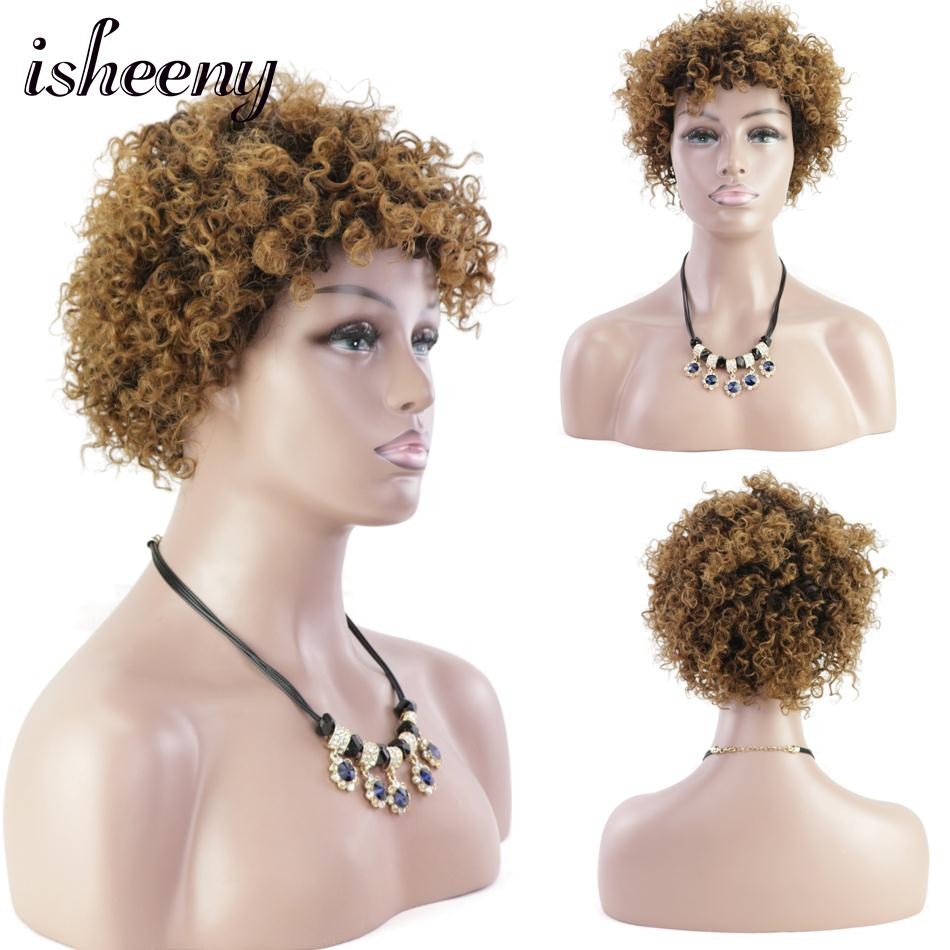 Isheeny Full Machine Spiral Curl Wigs Short Puff Brazilian Remy Human Hair Afro Curly Omber Color T1B-4-27