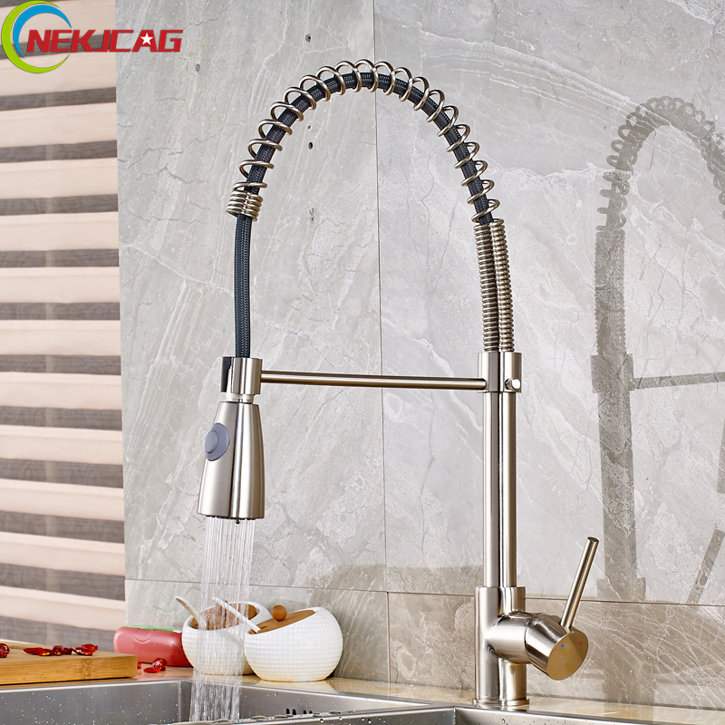 Brushed Nickel Spring Kitchen Faucet Pull Down All Around Rotate Swivel 2-Function Water Outlet Mixer Tap