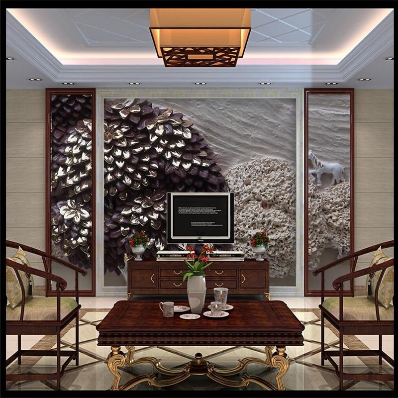 Купить с кэшбэком wellyu  3D landscape painting relief plaster landscape painting relief wall background custom large fresco green wallpaper