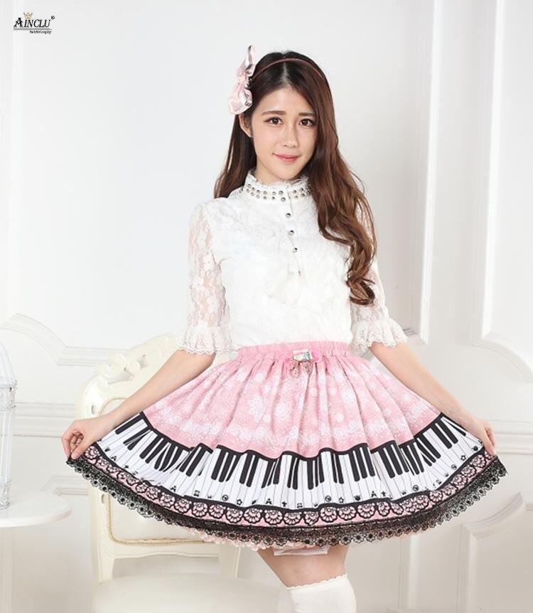 Doux Lolita dentelle robe jupes femmes rose neige Piano imprimé princesse plissée Lolita dentelle demi jupes Cosplay fête XS-XXL