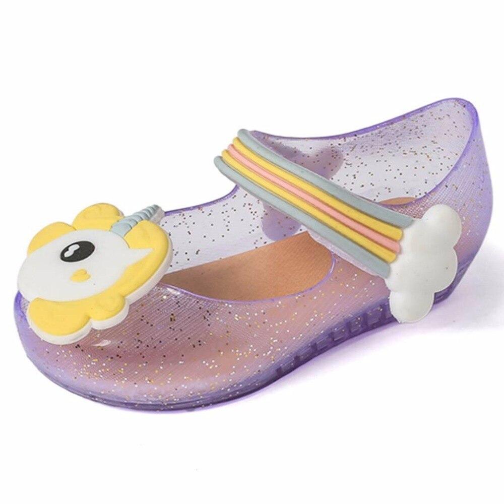 2018 new Girls Sandals Jelly Shoes Baby Boys Girls Sandals Rainbow Unicorn Anti-Skid Beach Sandals Shoes