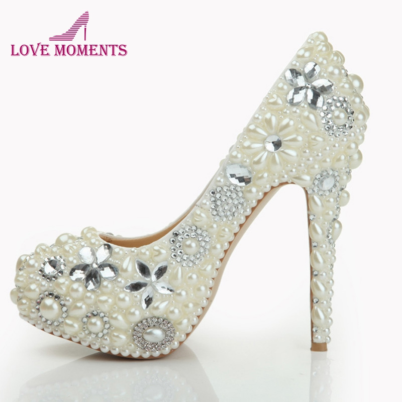 2018 Pearl Shoes Bridal Wedding Party Shoes Nightclub Stiletto Heel Rhinestone Pearls High Heel Shoes Bridal Pumps Hand-made подвесной светильник alfa marta 15344