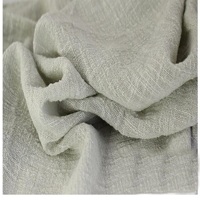 Weiche Leinen Baumwolle Material Beige Grau Crincle Falten Tissue