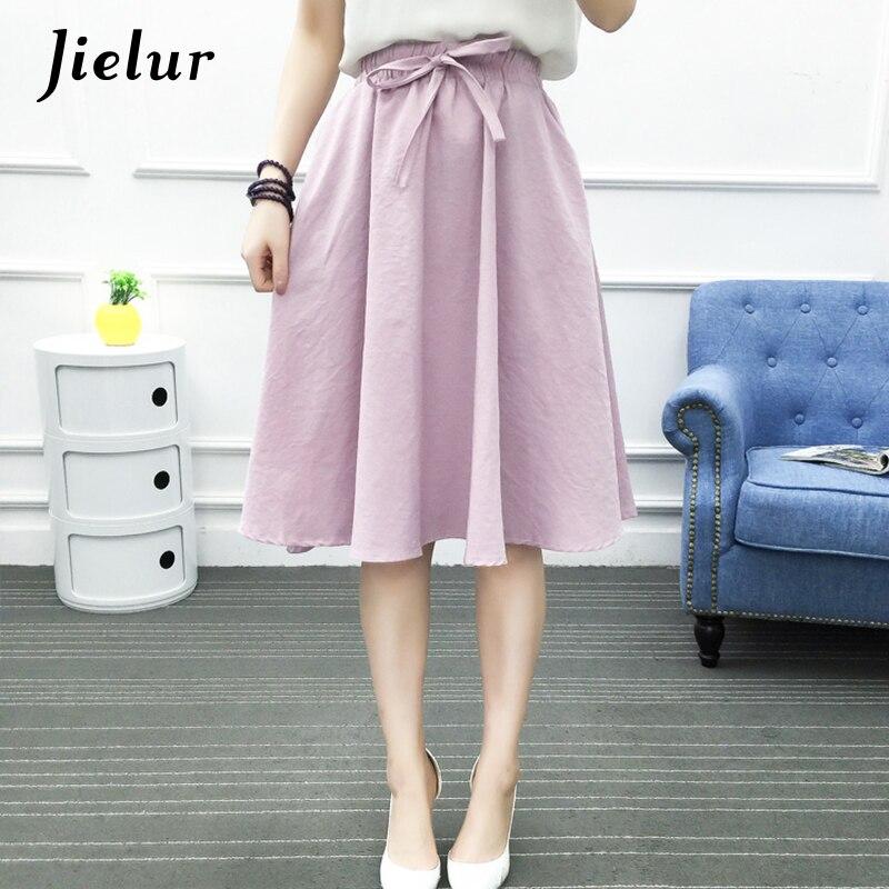 Jielur Fresh Lace-up A-line Solid Color Skirts Summer High Waist Simple Slim Black Womens Saias Navy Blue Yellow Female Faldas