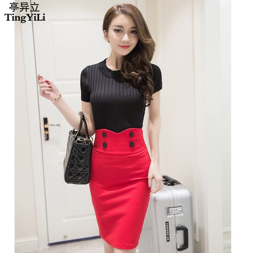 Tingyili On Front High Waist Pencil Skirt Black Red Y Short Skirts Womens Office Bodycon