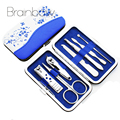 Blue and White Porcelain Case+7 in 1 pc Utility Manicure Set Tools Nail Clipper Kit Nail Care Set Pedicure Scissor Tweezer