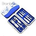 Blue and White Porcelain Case+7 in 1 pc Utility Manicure Set Tools Nail Clipper Kit Nail Care Set Pedicure Scissor Tweezer