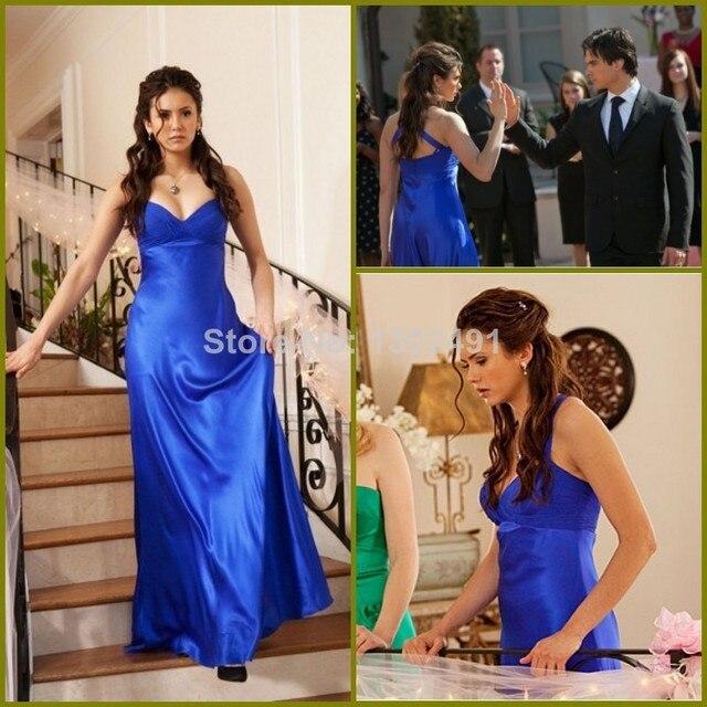 2016 New Arrival High Quality A Line Halter Royal BLue Dress Nina Dobrev Long Sexy Evening Dress Prom Gown Vestidos Longos