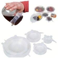 S/6 6 STÜCKE Lebensmittelqualität Silikon Frische Schüssel Abdeckung Vakuum Versiegelt Stretch Speicher Deckel für Saver Container Schale Tasse Becher lebensmittel frisch