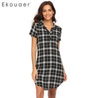 Ekouaer Down Turn Women Nightgown Night Dress Collar Short Sleeve Plaid Sleepshirt Nightgown Lounge Sleepwear Female